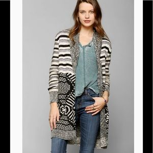 UO Ecote Mix Intarsia striped long cardigan sz S